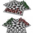 Three-handed chess, two views — Stock Photo