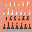 Stock Photo: White and black chess pieces