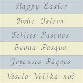 Happy Easter (handwriting in six different languages) — Stock Vector