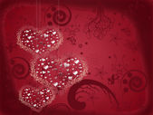 Valentine's card with three decorative hearts — Stock Photo
