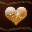 Decorative golden heart card — Stock Photo