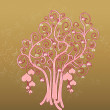 Tree of hearts on golden sparkles background — Stock Photo #8801013