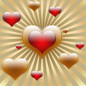 One big heart in the middle on golden sun rays with flying hearts — Stock Photo