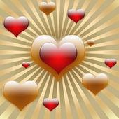 Un corazón en medio de los rayos de sol de oro con corazones de vuelo — Foto de Stock
