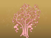 Tree of hearts on golden sparkles background — Stock Photo