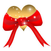 Valentine's day card with golden heart in red ribbon — Fotografia Stock