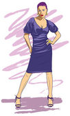 Purple lady — Vector de stock