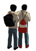 Two school friends stand having embraced — Stock Vector