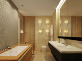 Bathroom.Mirror.Bowls — 图库照片