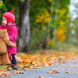 Wonderful child with a teddy bear in autumn park — Stock Photo