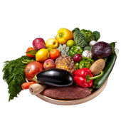 Fruit and vegetables tray - White background — Stock Photo
