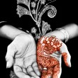Henna, mehendi on a brides hand - Grayscale — Stock Photo