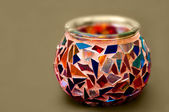 Artistic Ethnic Mosaic glass candle holder — Stock Photo