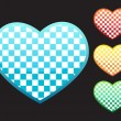 4 chess hearts — Stock Vector
