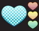 4 chess hearts — Stock Vector