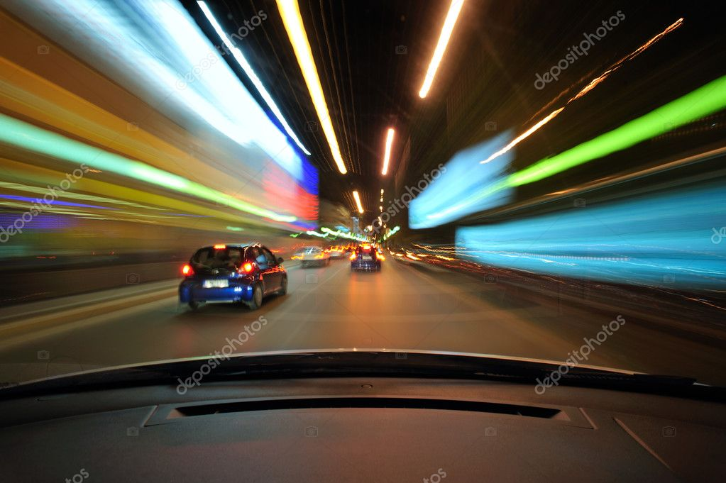 Urban night driving in light traffic — Stock Photo #9125526