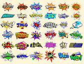 Cartoni animati testo esplosioni — Vettoriale Stock