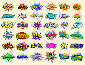 Cartoon text explosions — Vector de stock