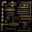 Stock Vector: Gold border elements