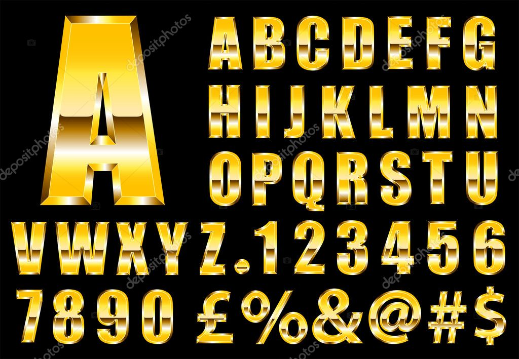 Luxury gold font vector — Stock Vector #9337236