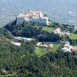 Aerial view of Montecassino Monastery. - Stock Photo