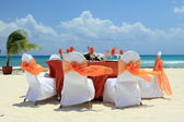 Wedding on a beach in a tropic resort. — Stok fotoğraf