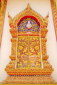 Native Thai style wood carving window. — Stock Photo