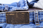 Empty leather label view of jeans for your good band name — Stock Photo