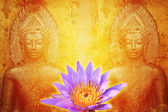 Lotus on abstract Buddhist Collage Background — Stockfoto