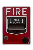 Red wall style fire alarm — Stock Photo