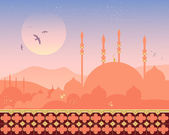 Mosque at sunset — Stock Vector