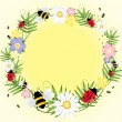 Ladybugs and bees — Stock Vector