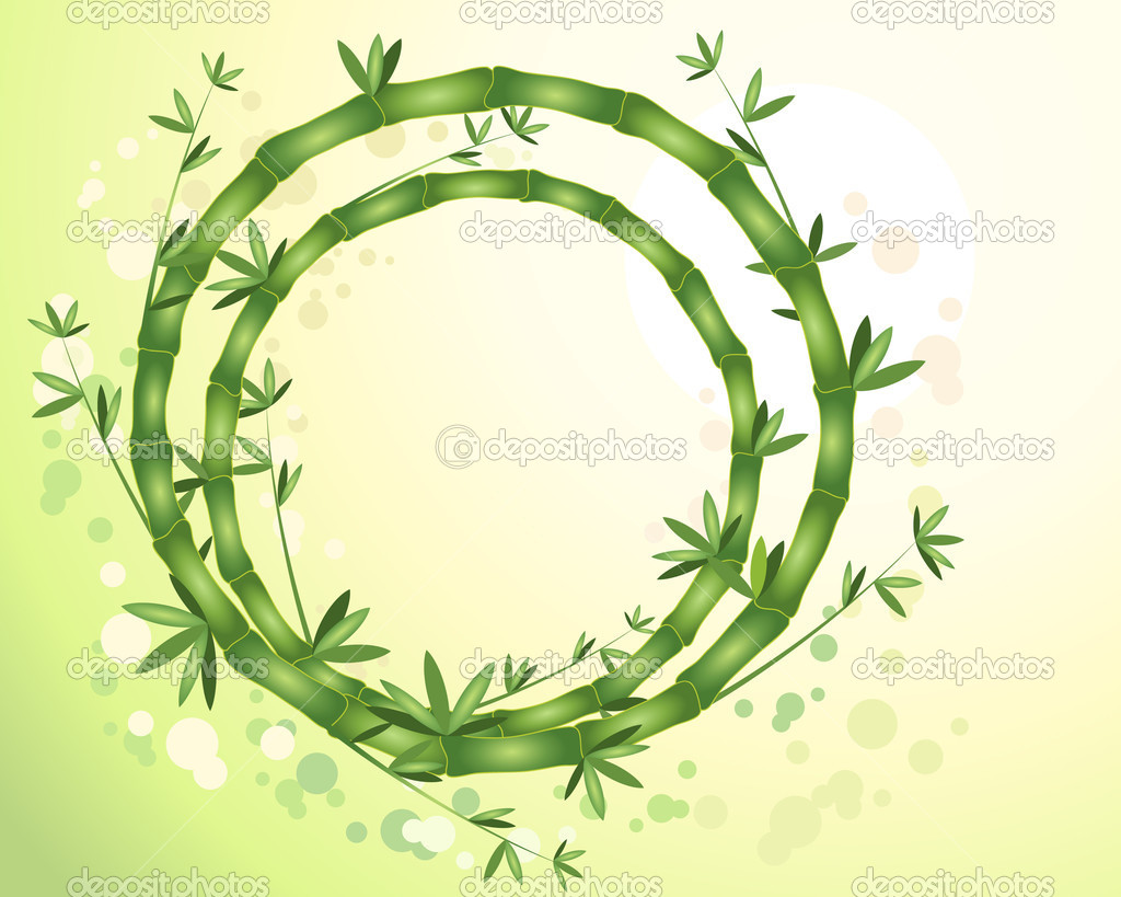 An illustration of abstract circular bamboo stems with green leaves on a sunny yellow green background — Stock Vector #9386113