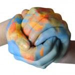 Globus auf Händen gemalt — Stockfoto