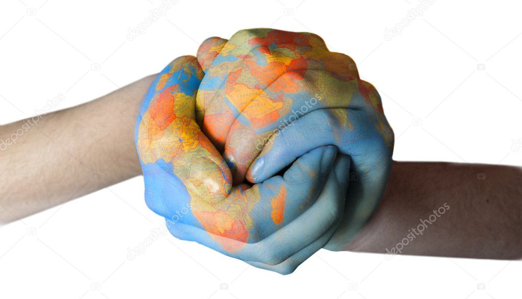 Colorful globe painted on hands — Stock Photo #8781393