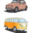 Two retro cars on white background — Stock Vector