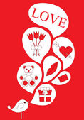 Love icons on red background — 图库矢量图片