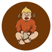 Frustration crying baby on brown background — Stock Vector