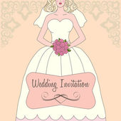 Wedding invitation with white dress and flowers — Stock Vector