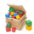 Wooden box with many blocks — Stock Photo