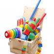 Wooden box with many toys — Stock Photo #9093079