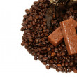 Stock Photo: Coffee beans and chocolate
