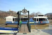 Ferry Boat on the Po River — Stock Photo