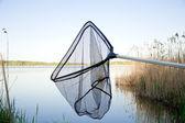 Landing net on the lake outside — Stock Photo