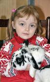 Girl with rabbit — Stock Photo