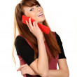 Portrait of a cute young girl talking on mobile phone — Stock Photo