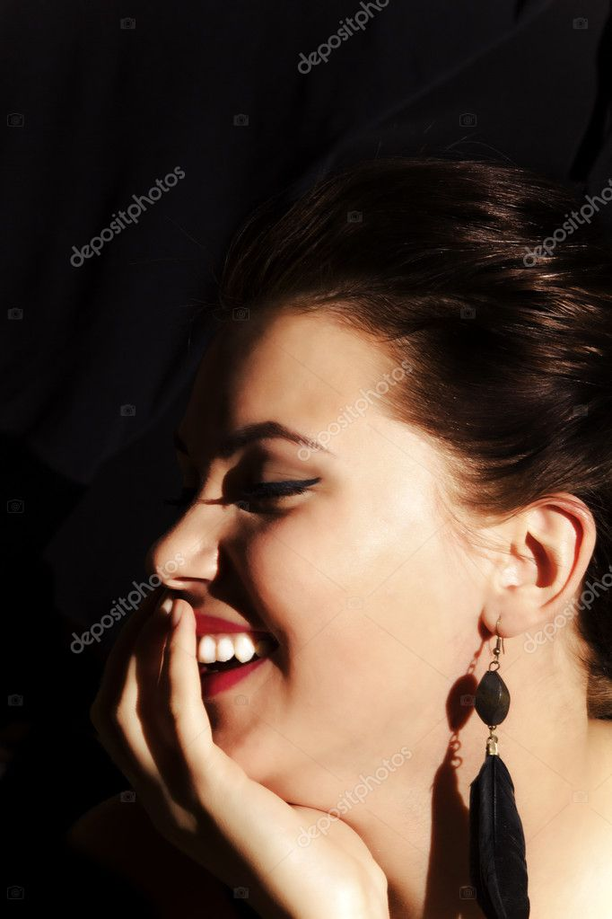Laughing Lady with  red lips on the black background — Foto de Stock   #8959215