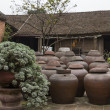 Farm courtyard with urns of fermenting soy sauce. — Stock Photo