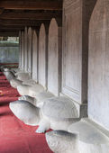 Hall with stelae built on turtles in Temple of Literature. — Stock Photo