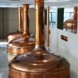 Line of three brewing vessels in brewery. — Стоковая фотография